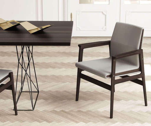 Pending - Modloft Dining Chairs Stanton Dining Arm Chair in Castle Gray Eco Leather