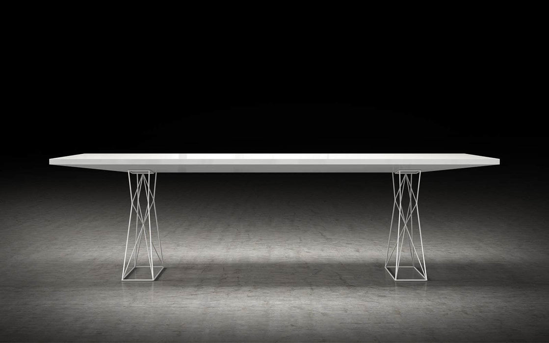 "Pending - Modloft Dining Tables Curzon 102"" Dining Table in Glossy White"