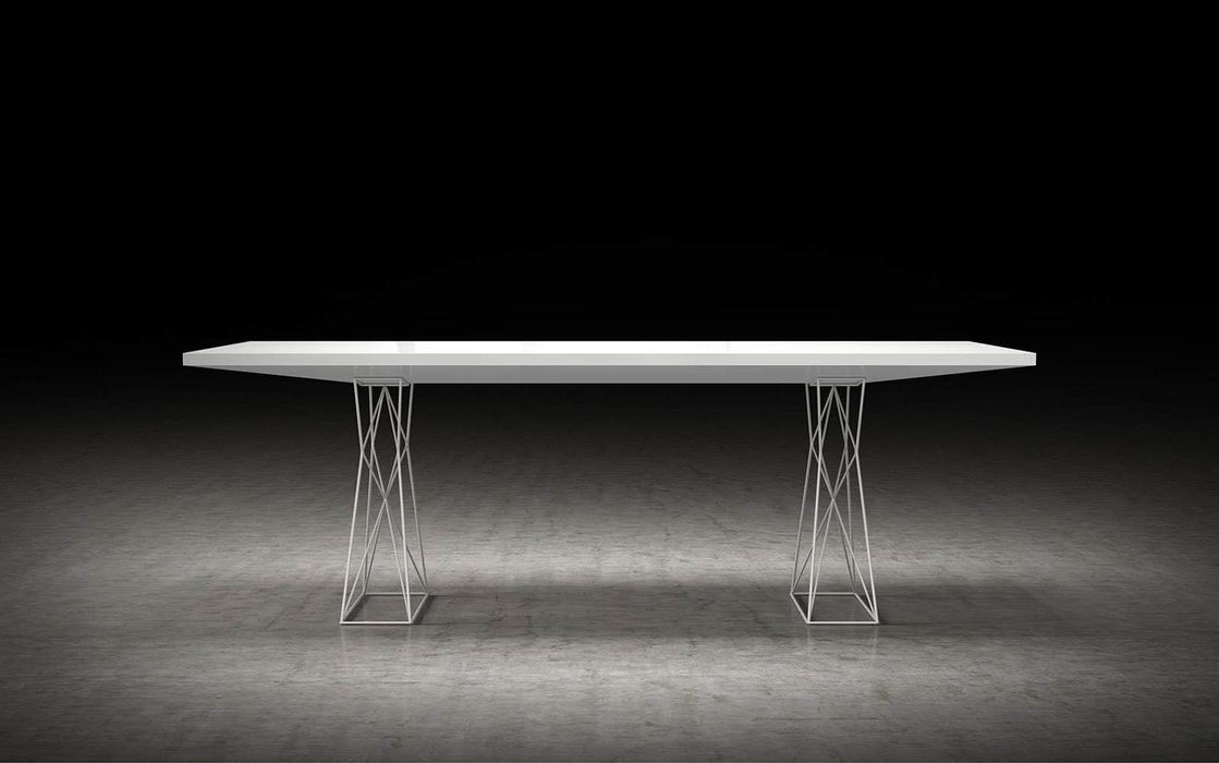 "Pending - Modloft Dining Tables Curzon 87"" Dining Table in Glossy White"