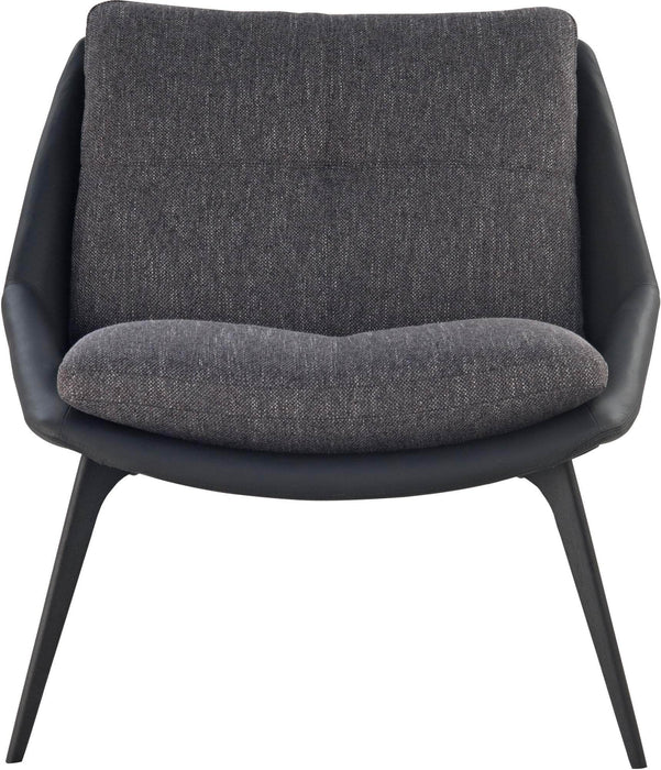 Pending - Modloft Lounge Chairs Black Leather/Dark Shadow Fabric Columbus Lounge Chair - Available in 2 Colors