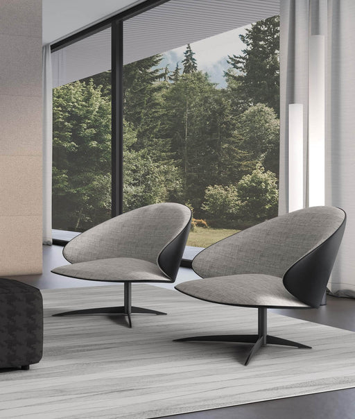Pending - Modloft Lounge Chairs Dyckman Lounge Chair in Gibraltar Fabric and Jet Black Leather