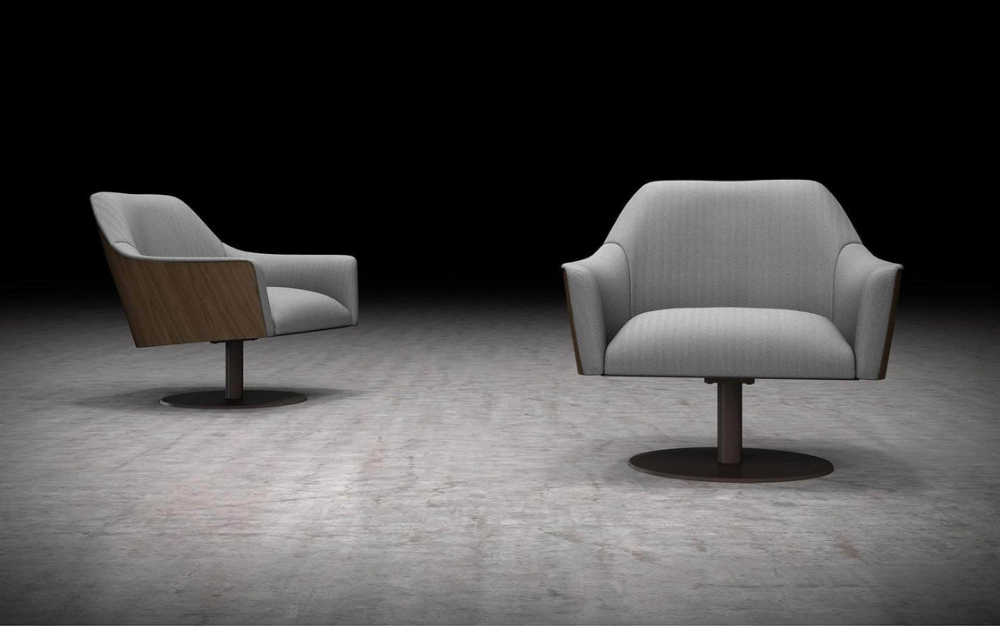 Pending - Modloft Lounge Chairs Gray Herringbone Fabric/Walnut Henry Lounge Chair - Available in 2 Colors