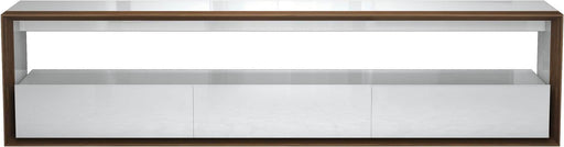 "Pending - Modloft Media Storage Beckenham 79"" Media Console in Glossy White and Walnut"