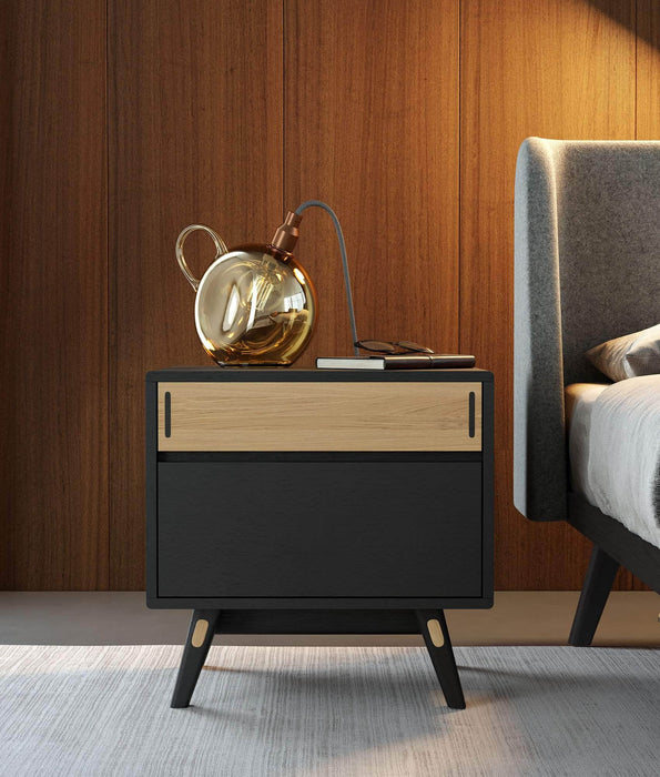 Haru Nightstand in Black Oak