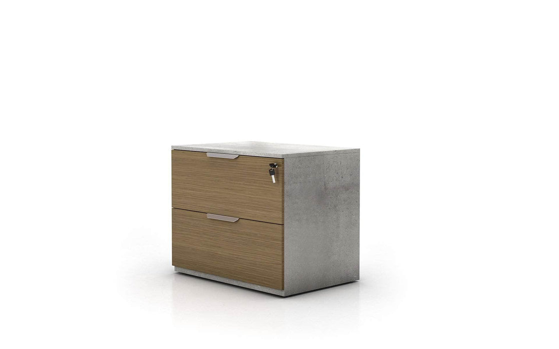 Pending - Modloft Office Broome Lateral Filing Cabinet in Weathered Concrete on Latte Walnut