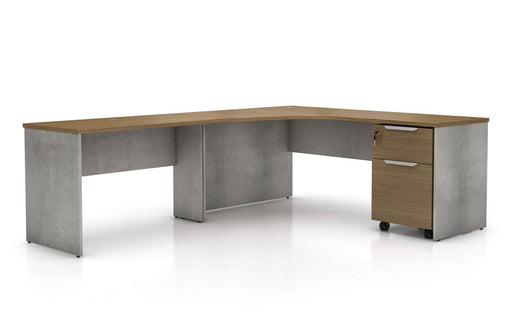 Pending - Modloft Office Left Facing Broome Corner Desk Set in Weathered Concrete on Latte Walnut - Available in 2 Styles
