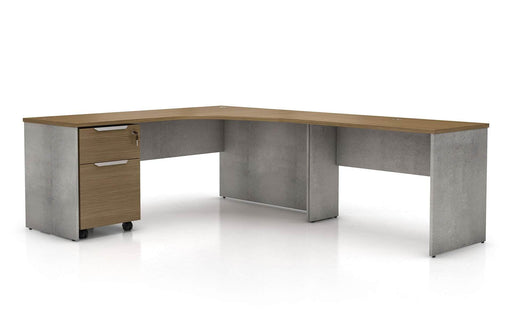 Pending - Modloft Office Right Facing Broome Corner Desk Set in Weathered Concrete on Latte Walnut - Available in 2 Styles