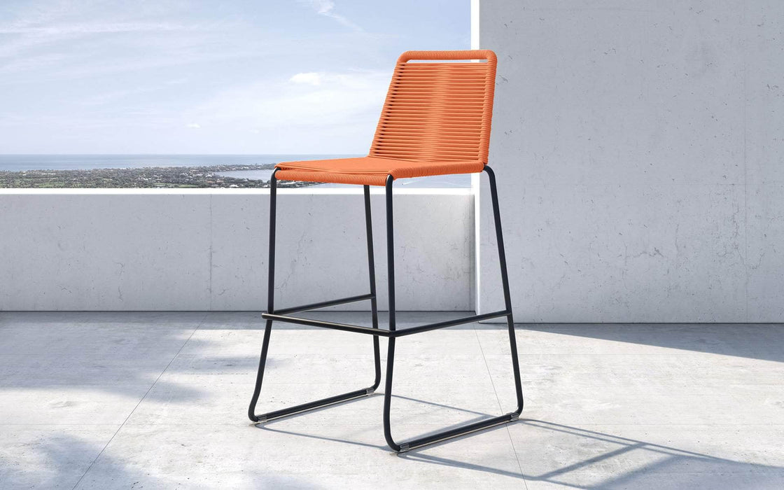 Pending - Modloft Outdoor Orange Cord Barclay Stacking Counter Stool - Available in 8 Colors
