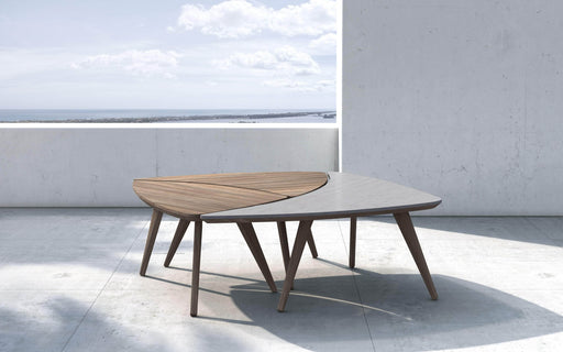 Pending - Modloft Outdoor Triplica Bunching Tables in Weathered Eucalyptus