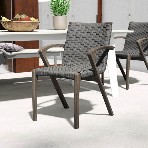 Pending - Modloft Outdoor Verge Stacking Outdoor Dining Chairs in Shades of Gray Cord