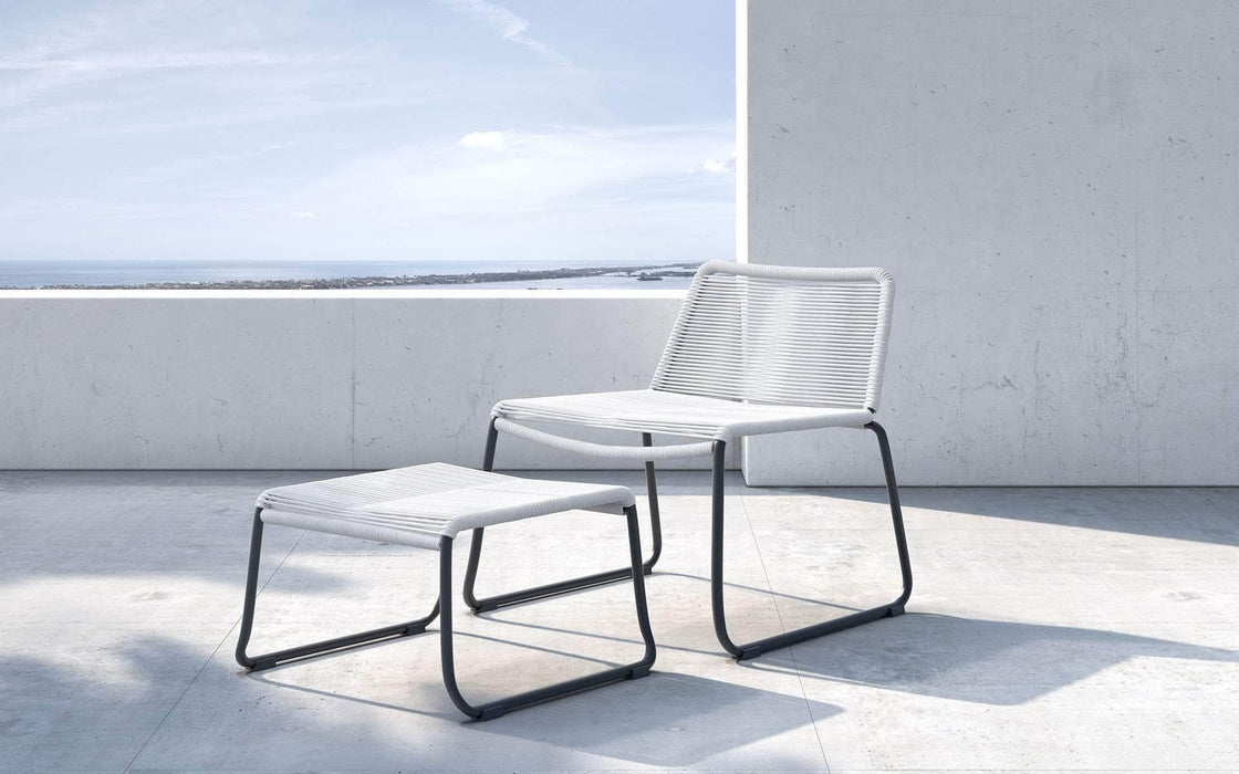 Pending - Modloft Outdoor White Cord Barclay Stacking Lounge Chair and Ottoman - Available in 3 Colors