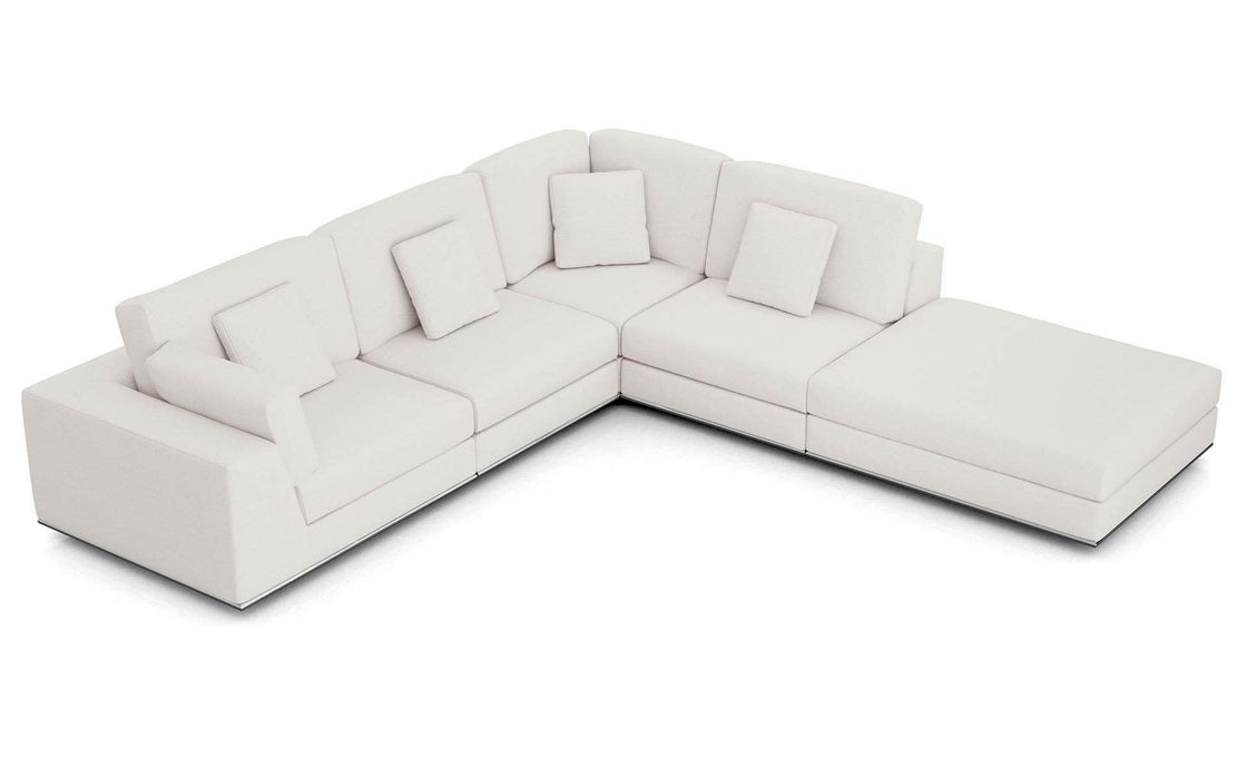 Pending - Modloft Sectionals Chalk Fabric Perry Sectional 1 Arm Corner Open Sofa - Available in 2 Colors