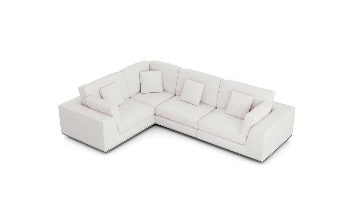 Pending - Modloft Sectionals Chalk Fabric Perry Sectional 2 Arm Corner Compact Sofa - Available in 2 Colors