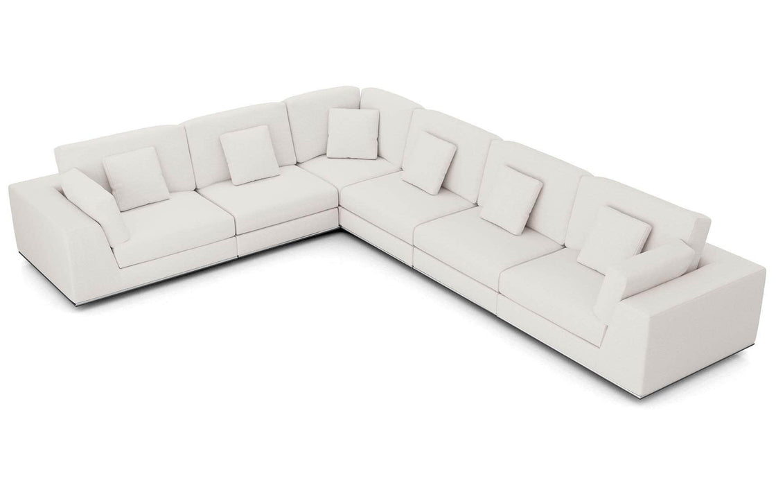Pending - Modloft Sectionals Chalk Fabric Perry Sectional Large 2 Arm Corner Sofa - Available in 2 Colors