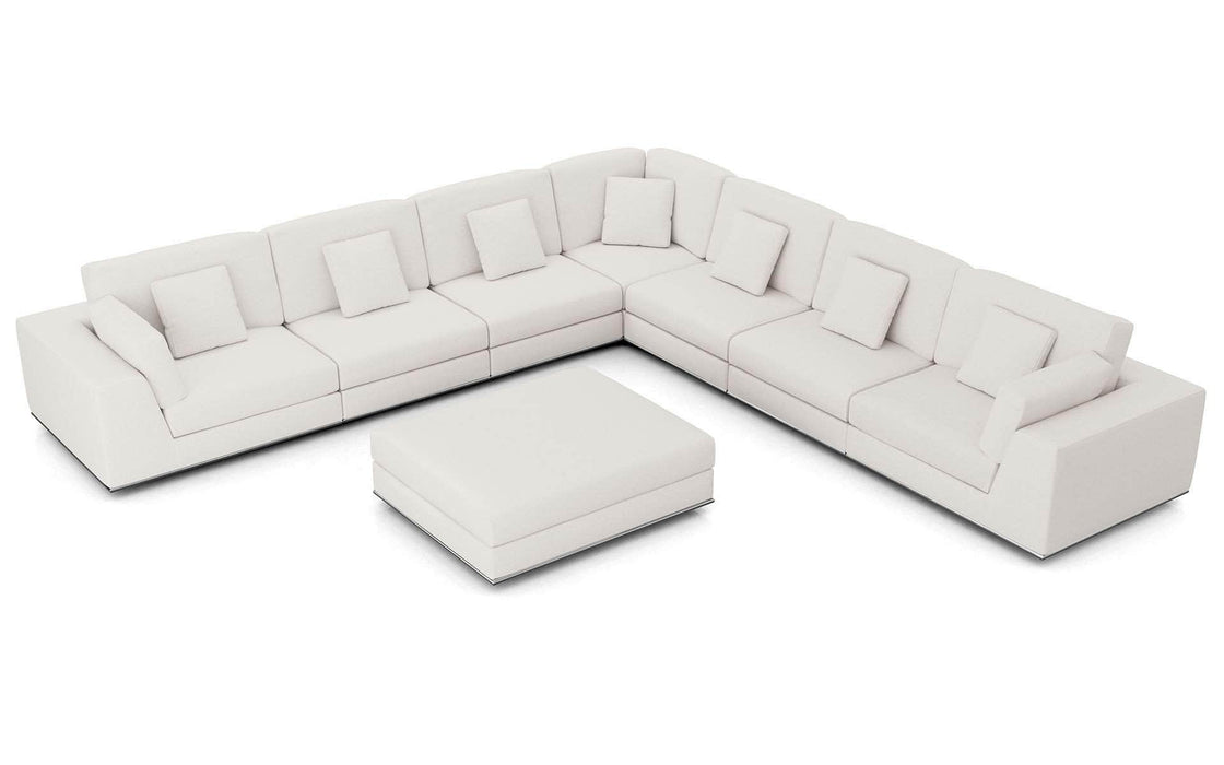 Pending - Modloft Sectionals Chalk Fabric Perry Sectional Large 2 Arm Corner Sofa with Ottoman - Available in 2 Colors