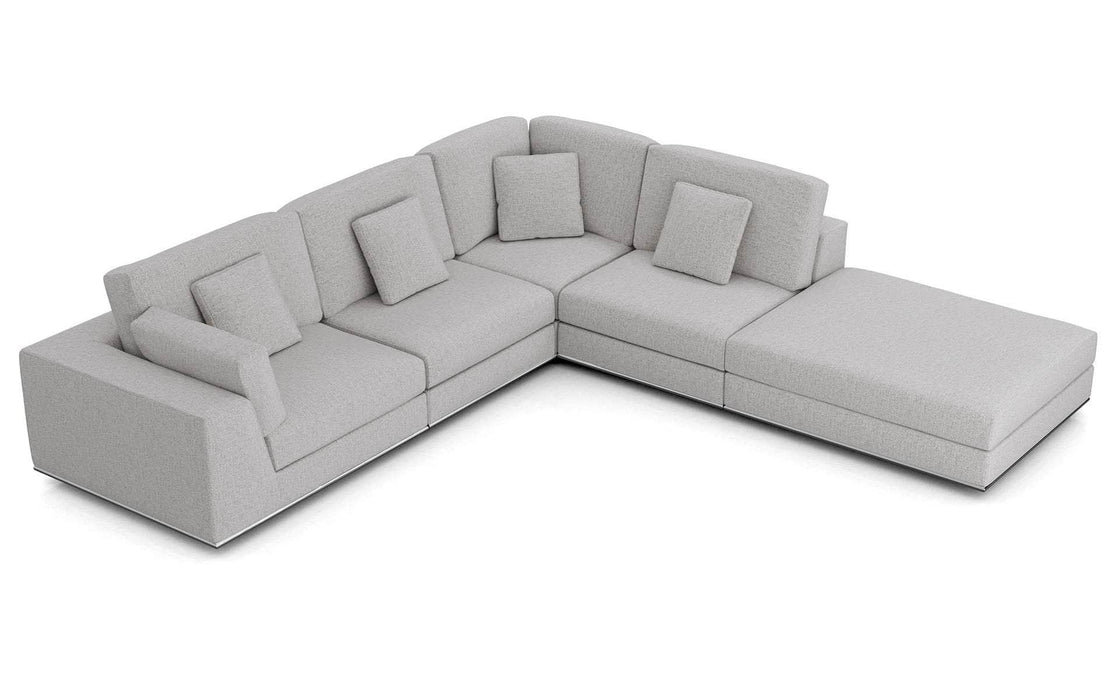 Pending - Modloft Sectionals Gris Fabric Perry Sectional 1 Arm Corner Open Sofa - Available in 2 Colors