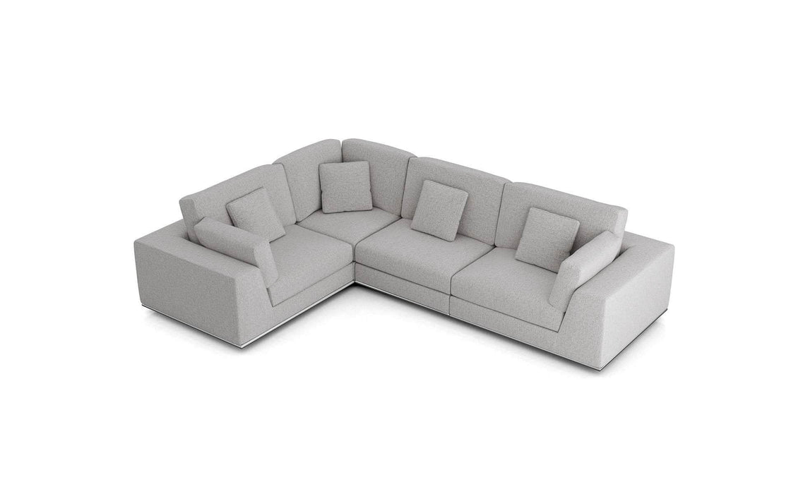 Pending - Modloft Sectionals Gris Fabric Perry Sectional 2 Arm Corner Compact Sofa - Available in 2 Colors