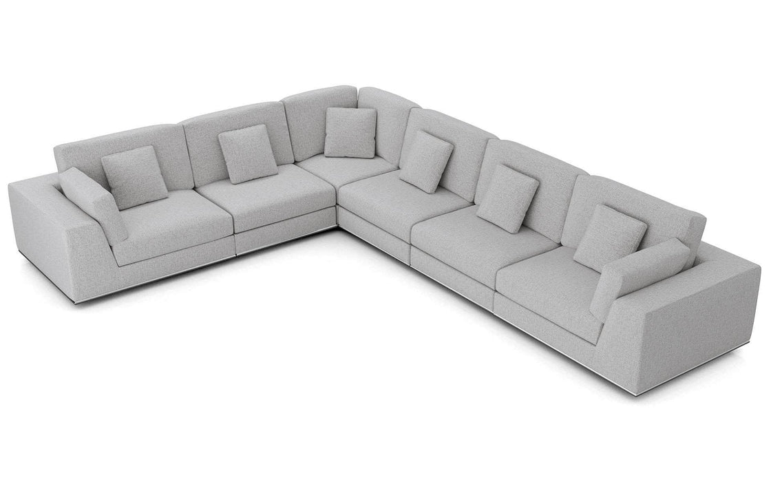 Pending - Modloft Sectionals Gris Fabric Perry Sectional Large 2 Arm Corner Sofa - Available in 2 Colors