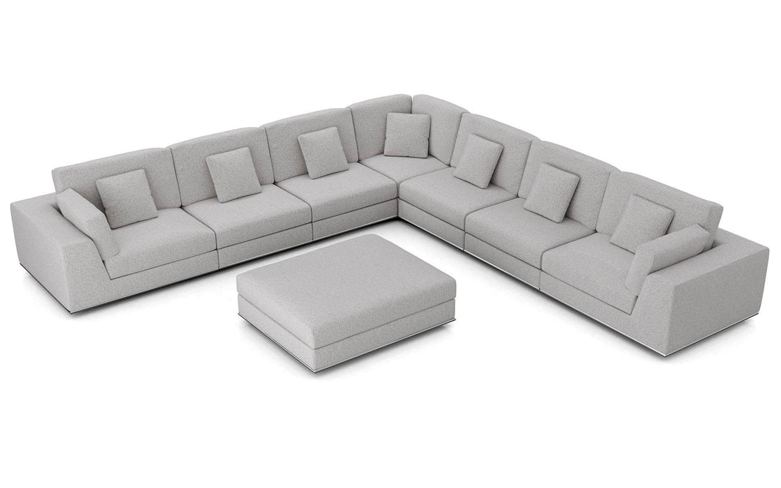 Pending - Modloft Sectionals Gris Fabric Perry Sectional Large 2 Arm Corner Sofa with Ottoman - Available in 2 Colors