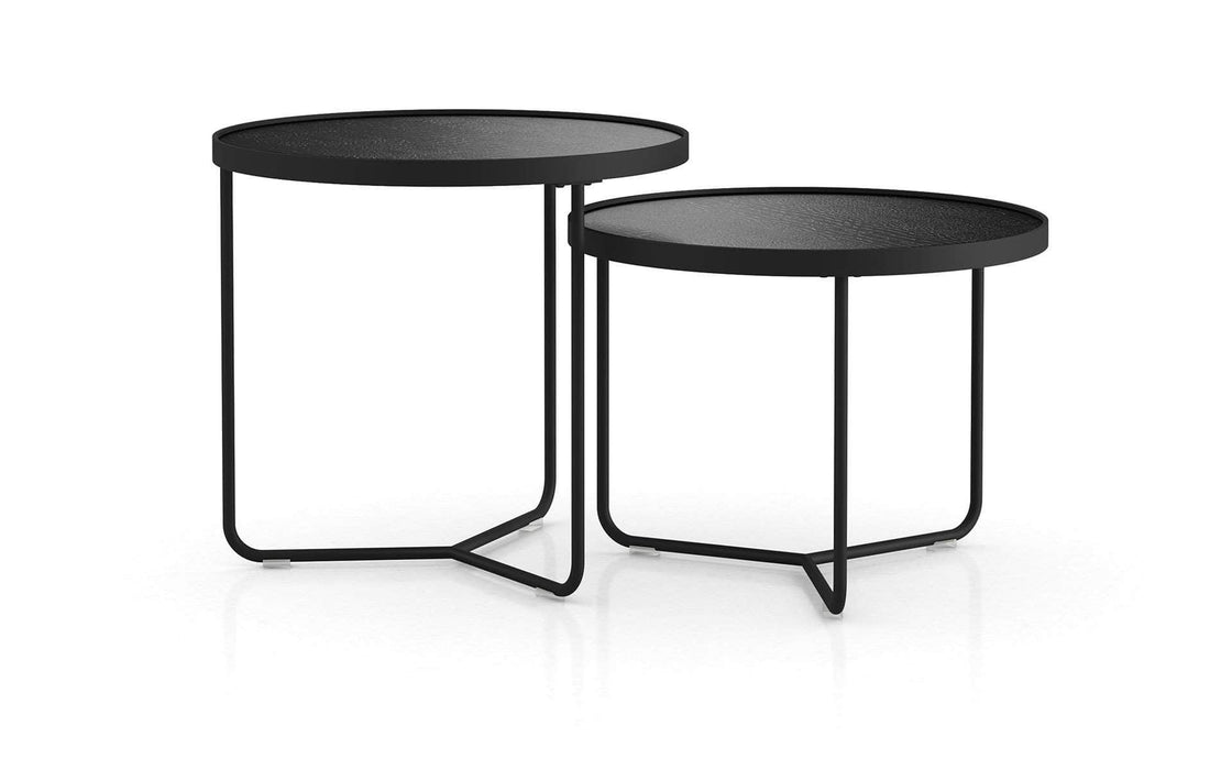 Pending - Modloft Side Tables Black Crocco Reclaimed Leather Adelphi Nesting Side Tables - Available in 4 Colors