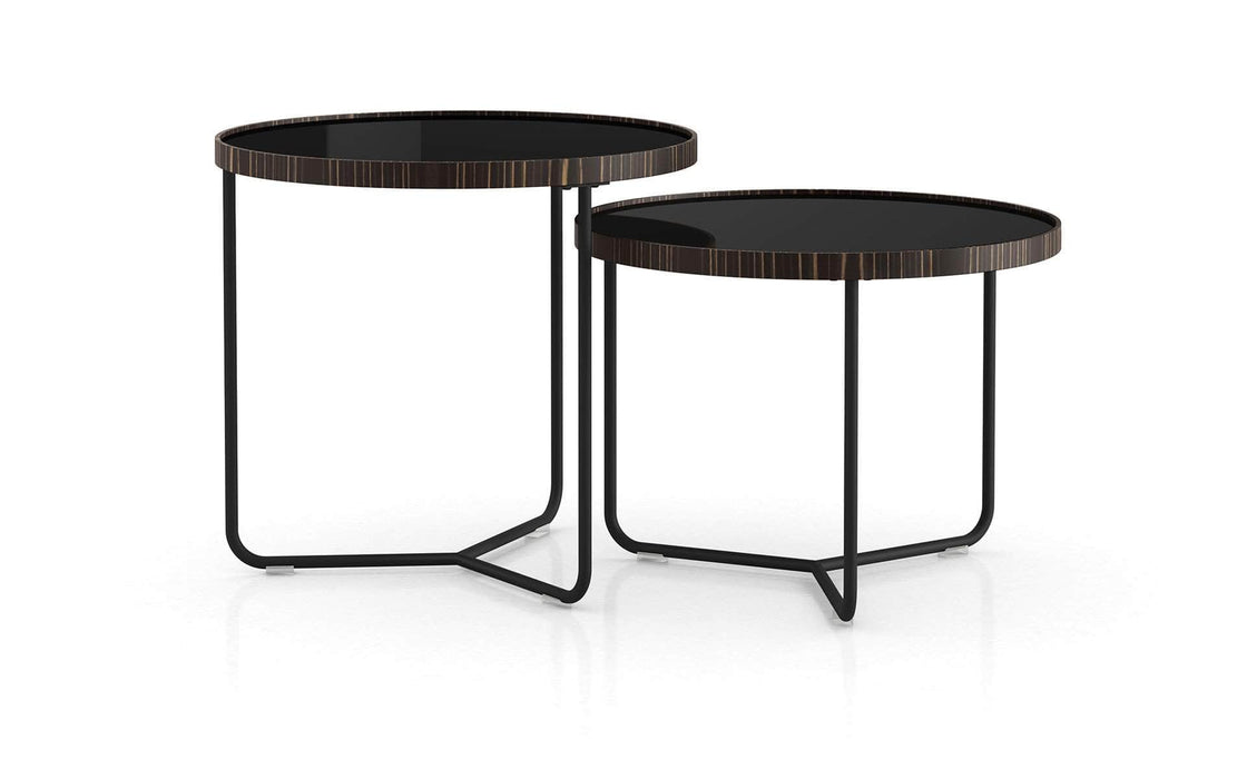 Pending - Modloft Side Tables Black Glass Adelphi Nesting Side Tables - Available in 4 Colors