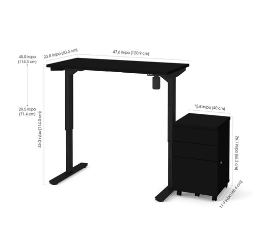 "Bestar Desks Universel 2-Piece Set Including 24"" X 48"" Standing Desk And An Assembled Mobile Pedestal In Black"