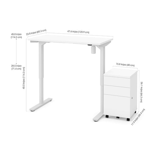"Bestar Desks Universel 2-Piece Set Including 24"" X 48"" Standing Desk And An Assembled Mobile Pedestal In White"