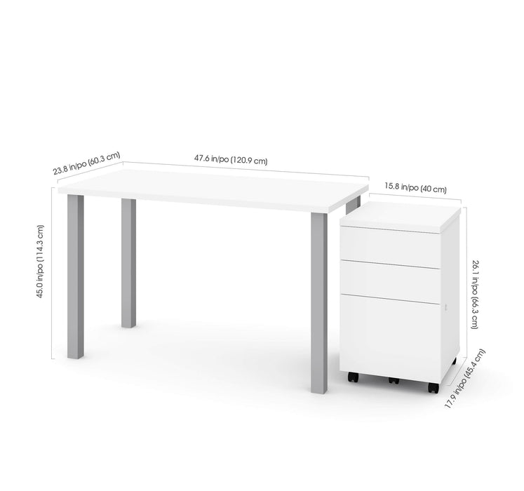 "Bestar Desks Universel 2-Piece Set Including 24"" X 48"" Table Desk And An Assembled Mobile Pedestal - Available in 2 Colors"