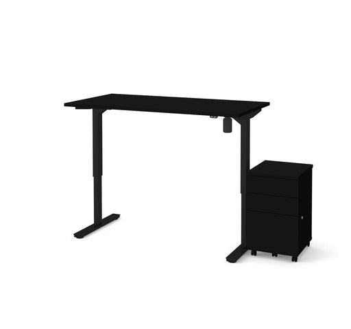 "Bestar Desks Universel 2-Piece Set Including 30"" X 60"" Standing Desk And An Assembled Mobile Pedestal In Black"