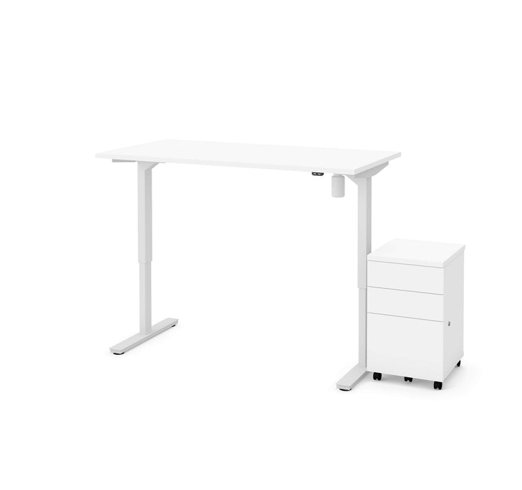 "Bestar Desks Universel 2-Piece Set Including 30"" X 60"" Standing Desk And An Assembled Mobile Pedestal In White"