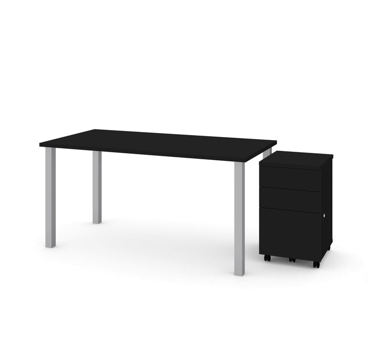 "Bestar Desks Universel 2-Piece Set Including 30"" X 60"" Table Desk And An Assembled Mobile Pedestal - Available in 2 Colors"