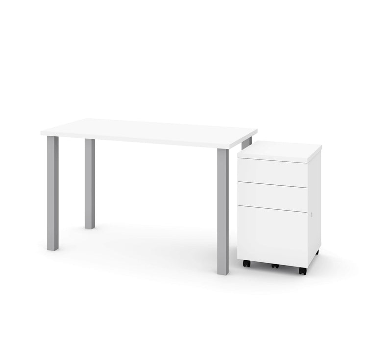 "Bestar Desks White Universel 2-Piece Set Including 24"" X 48"" Table Desk And An Assembled Mobile Pedestal - Available in 2 Colors"