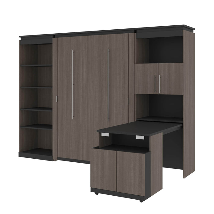 Bestar Murphy Beds Bark Gray & Graphite Orion Full Murphy Bed With Shelving And Fold-Out Desk - Available in 2 Colors