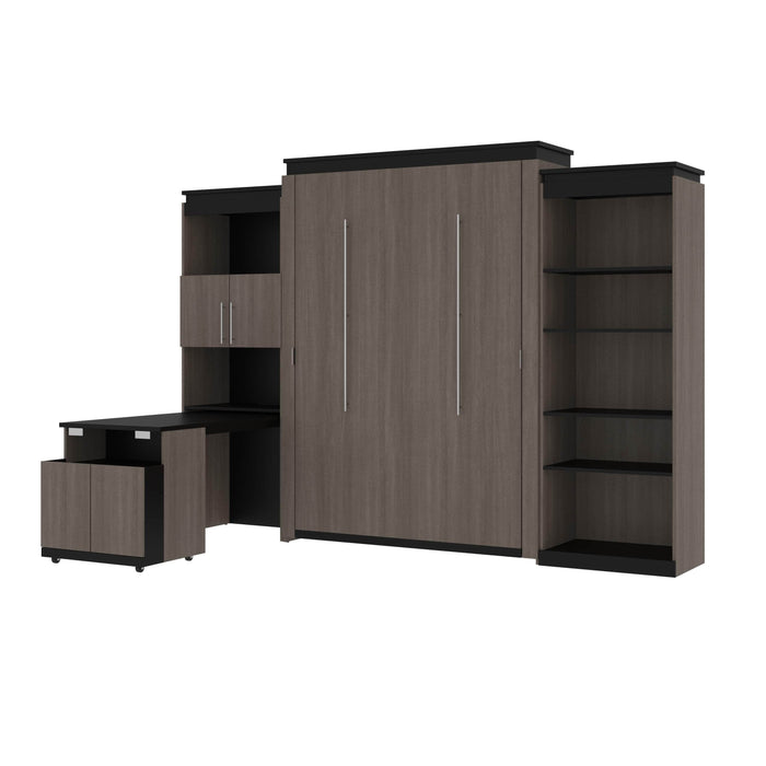 Bestar Murphy Beds Bark Gray & Graphite Orion Queen Murphy Bed With Shelving And Fold-Out Desk - Available in 2 Colors