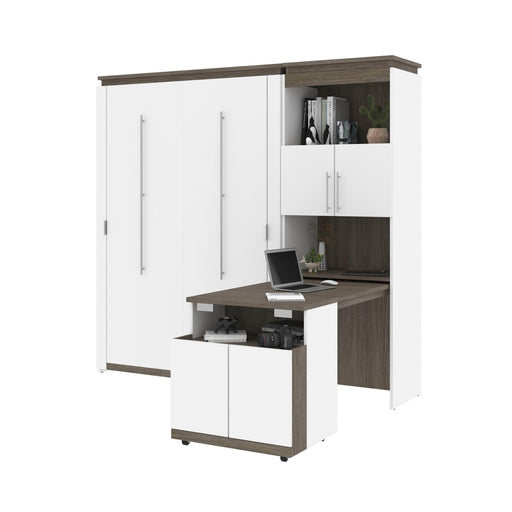 Bestar Murphy Beds Orion Full Murphy Bed And Shelving Unit With Fold-Out Desk - Available in 2 Colors