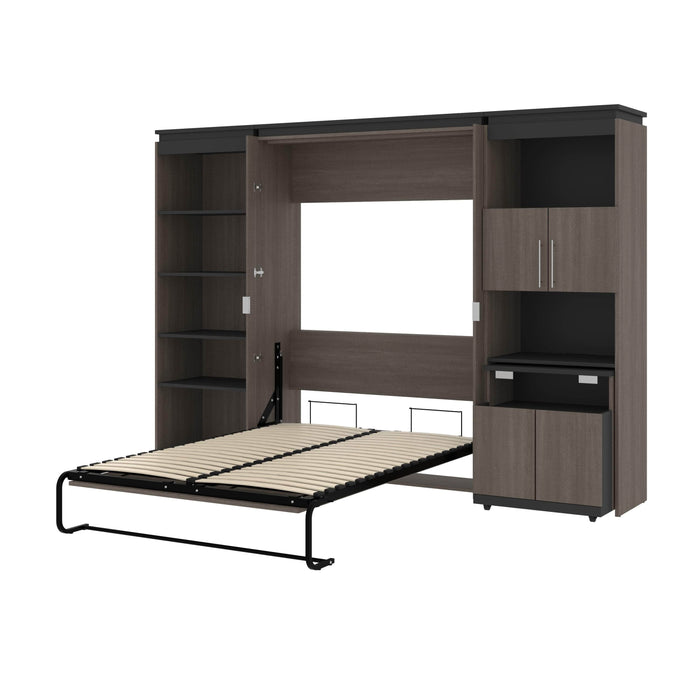 Bestar Murphy Beds Orion Full Murphy Bed With Shelving And Fold-Out Desk - Available in 2 Colors