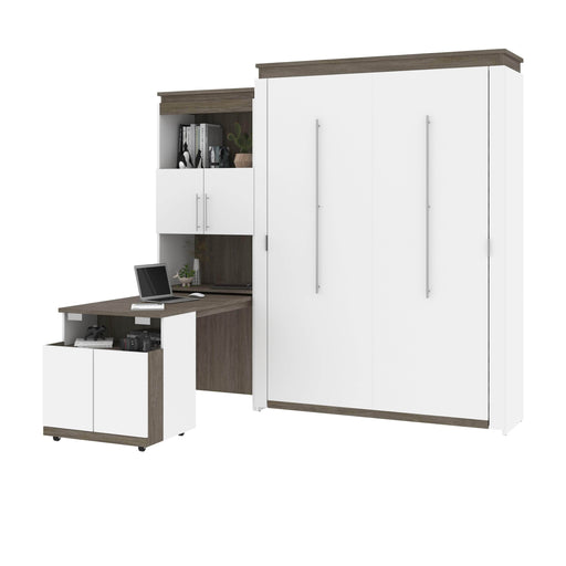 Bestar Murphy Beds Orion Queen Murphy Bed And Shelving Unit With Fold-Out Desk - Available in 2 Colors