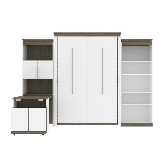 Bestar Murphy Beds Orion Queen Murphy Bed With Shelving And Fold-Out Desk - Available in 2 Colors