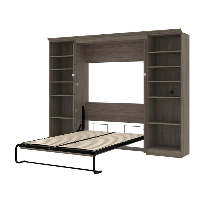Bestar Murphy Beds Walnut Grey Versatile Full Murphy Bed With Shelving Units - Available in 2 Colors