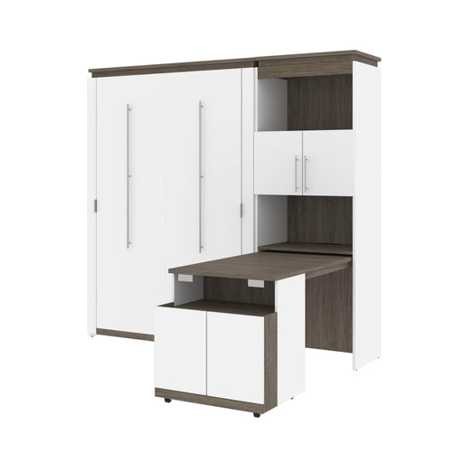 Bestar Murphy Beds White & Walnut Grey Orion Full Murphy Bed And Shelving Unit With Fold-Out Desk - Available in 2 Colors