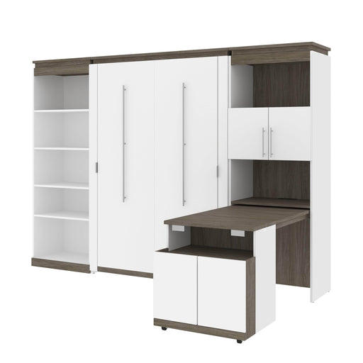 Bestar Murphy Beds White & Walnut Grey Orion Full Murphy Bed With Shelving And Fold-Out Desk - Available in 2 Colors