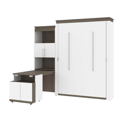 Bestar Murphy Beds White & Walnut Grey Orion Queen Murphy Bed And Shelving Unit With Fold-Out Desk - Available in 2 Colors