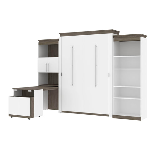 Bestar Murphy Beds White & Walnut Grey Orion Queen Murphy Bed With Shelving And Fold-Out Desk - Available in 2 Colors