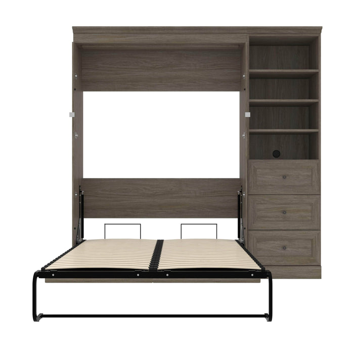 Modubox Murphy Wall Bed Versatile Full Murphy Bed with Shelving Unit and Drawers - Available in 2 Colors