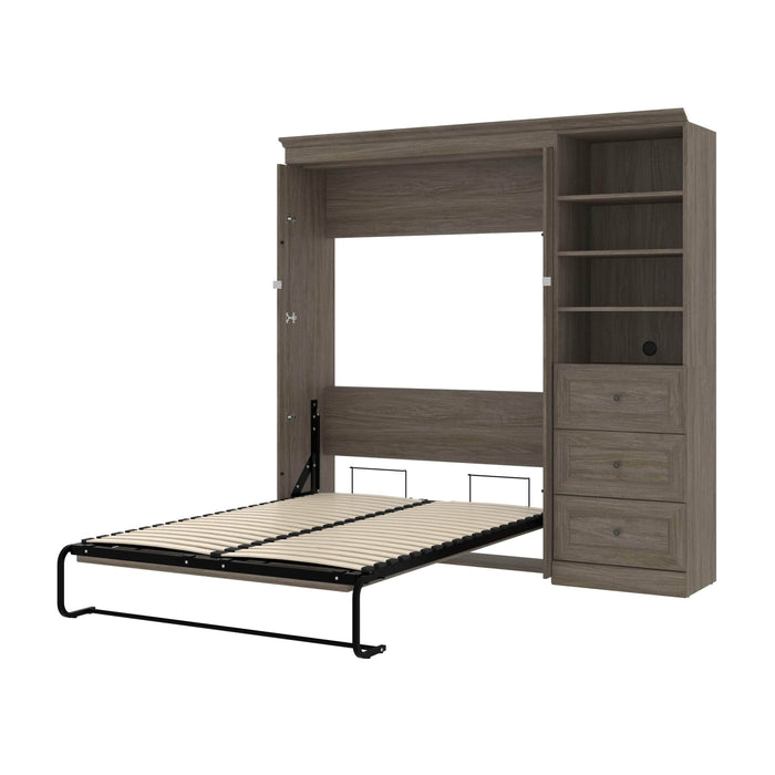 Modubox Murphy Wall Bed Walnut Grey Versatile Full Murphy Bed with Shelving Unit and Drawers - Available in 2 Colors
