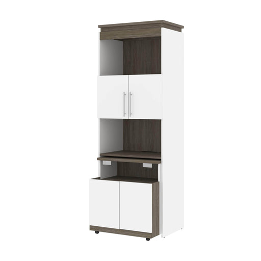 Bestar Storage White & Walnut Grey Orion Shelving Unit With Fold-Out Desk - Available in 2 Colors