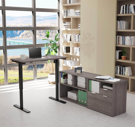i3 Plus 2-Piece Set Including a Standing Desk and Credenza - Bark Grey
