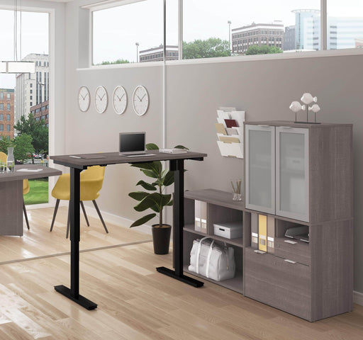 Pending - Priority Bestar Bestar i3 Plus 2-Piece Set including a standing desk and a credenza with hutch - Bark Grey