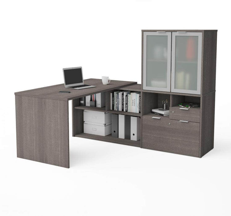Pending - Priority Bestar Bestar i3 Plus L-shaped Desk with Frosted Glass Doors Hutch - Bark Grey