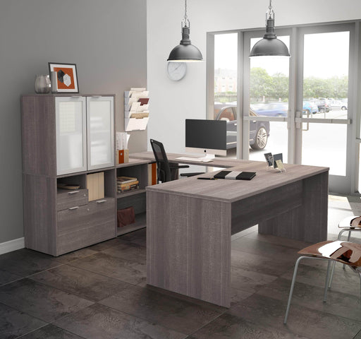 i3 Plus U-shaped Desk with Frosted Glass Doors Hutch - Bark Grey
